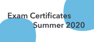 Exam certificate Information | Summer 2020